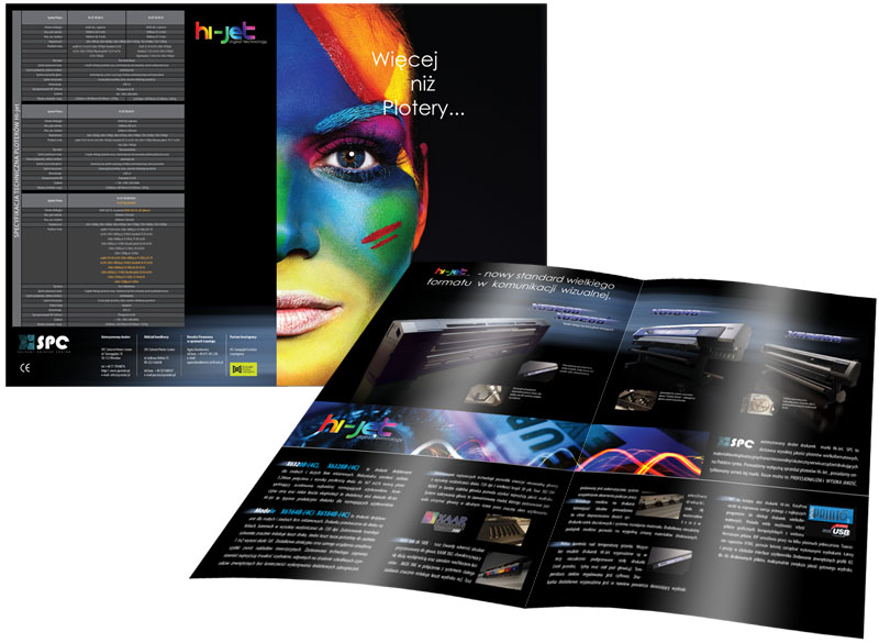 Folder produktowy dla firmy SPC Solvent Printer Center