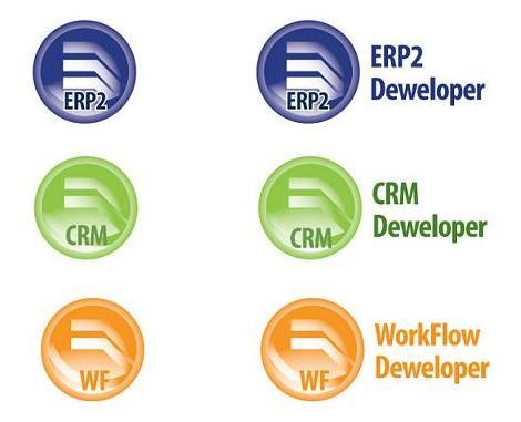 Loga systemu ERP2 Deweloper oraz aplikacji CRM Deweloper i WorkFlow Deweloper