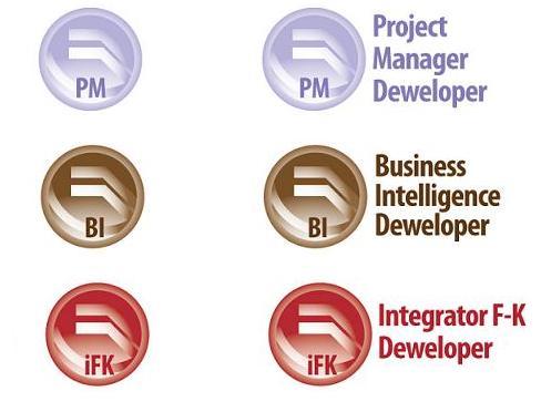 Loga aplikacji Project Manager Deweloper, Business Intelligence Deweloper oraz Integrator F-K Deweloper