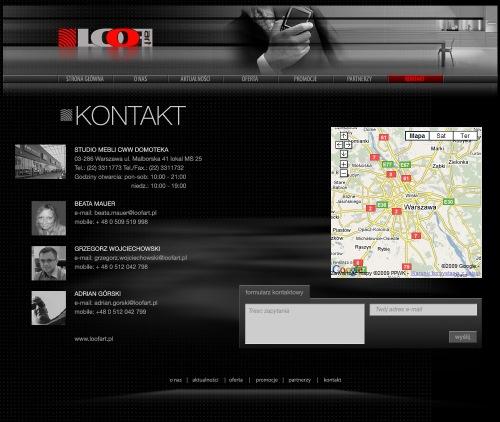 Strona internetowa dla LooF Art _ podstrona KONTAKT